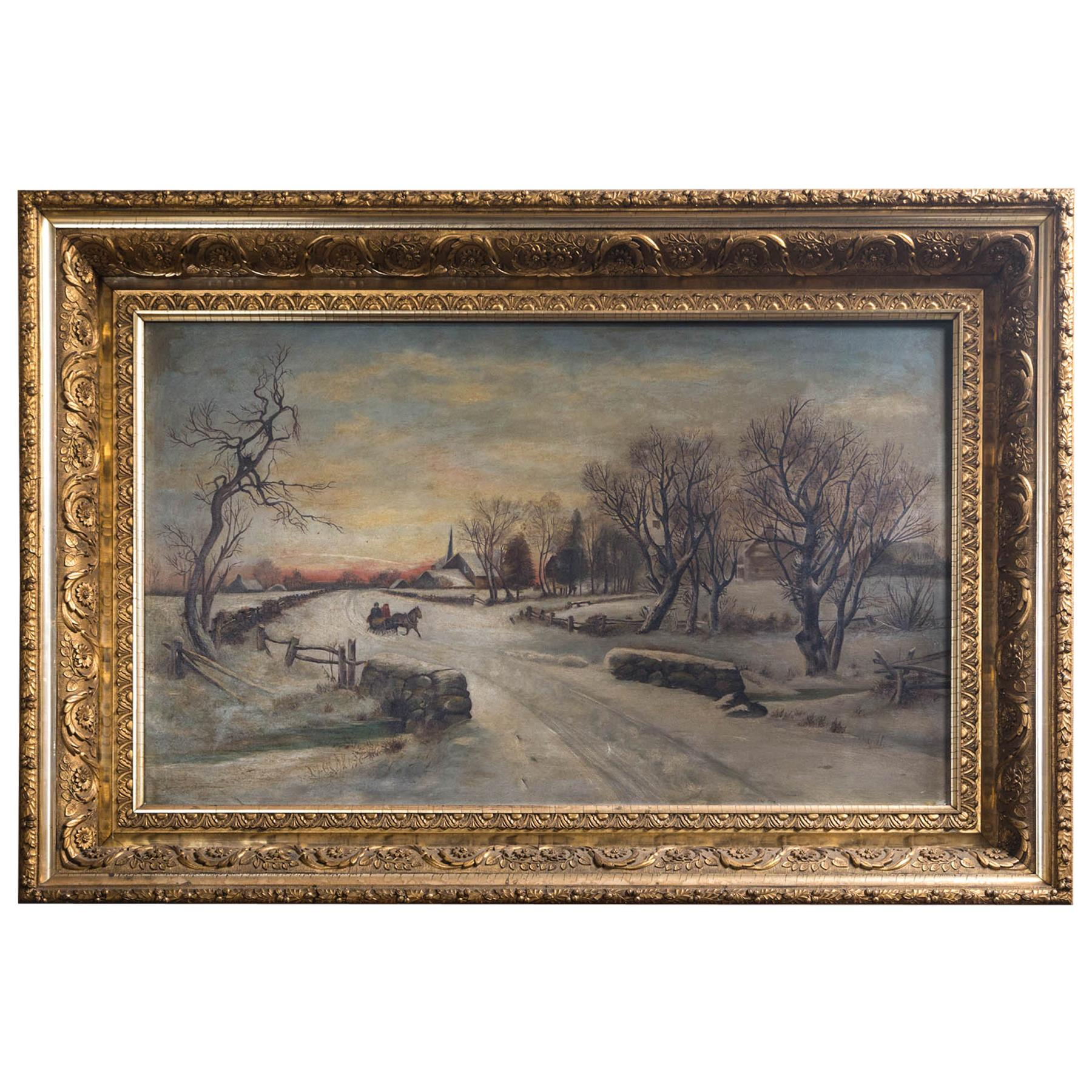 19th Century Oil on Canvas, Winter Scene