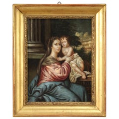 19th Century Oil on Copper Italian Antique Religious Painting Virgin with Child