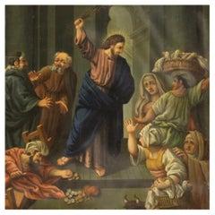 19th Century Oil on Copper Italian Religious Painting Merchants, 1860
