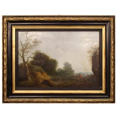 19th Century Oil on Panel Flemish Painting Landscape with Characters, 1870