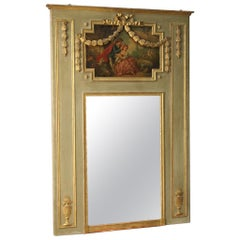 19th Century Oil on Panel French Trumeau Louis XVI Style, Mirror with Painting