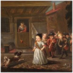19th Century Oil on Panel German Painting Popular Scene Games of Children, 1850