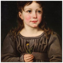 19th Century Oil on Paper Italian Young Girl Portrait Painting, 1880