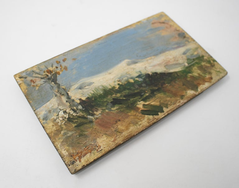 19th century oil on wood signed painting depicting an impressionist mountain scenery.