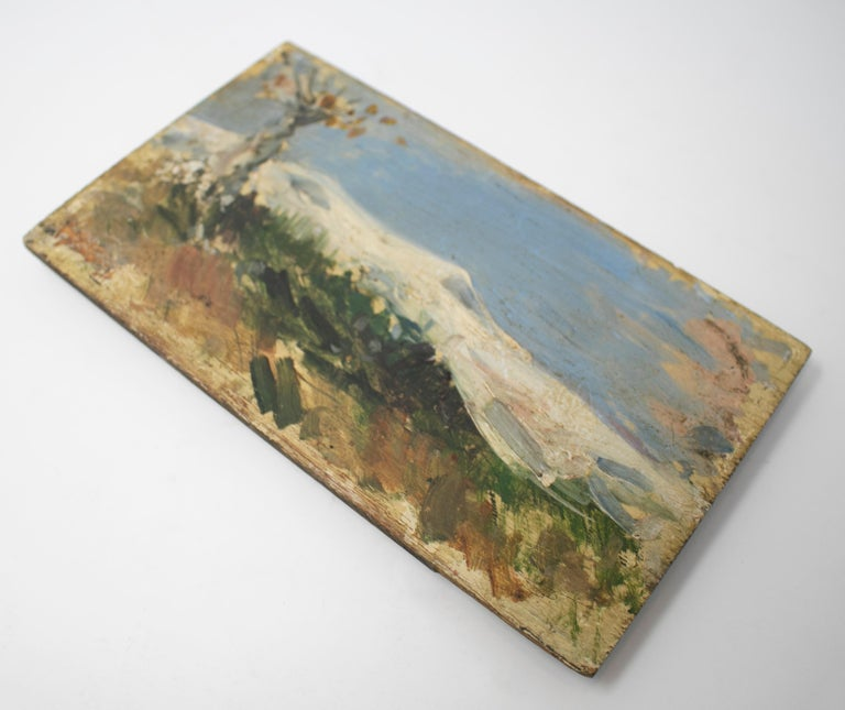 European 19th Century Oil on Wood Signed Mountain Scenery Painting For Sale