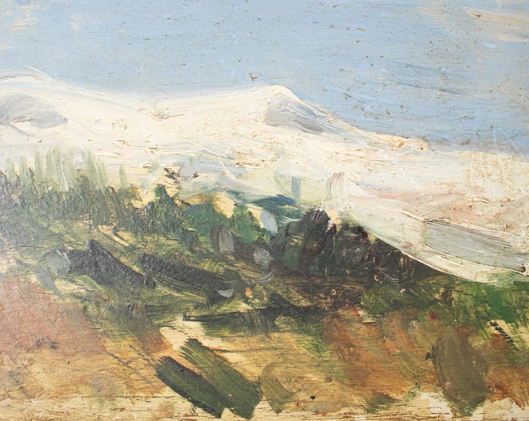 19th Century Oil on Wood Signed Mountain Scenery Painting In Good Condition For Sale In Malaga, ES