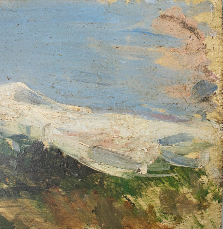 19th Century Oil on Wood Signed Mountain Scenery Painting For Sale 1