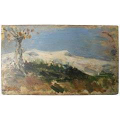 19th Century Oil on Wood Signed Mountain Scenery Painting