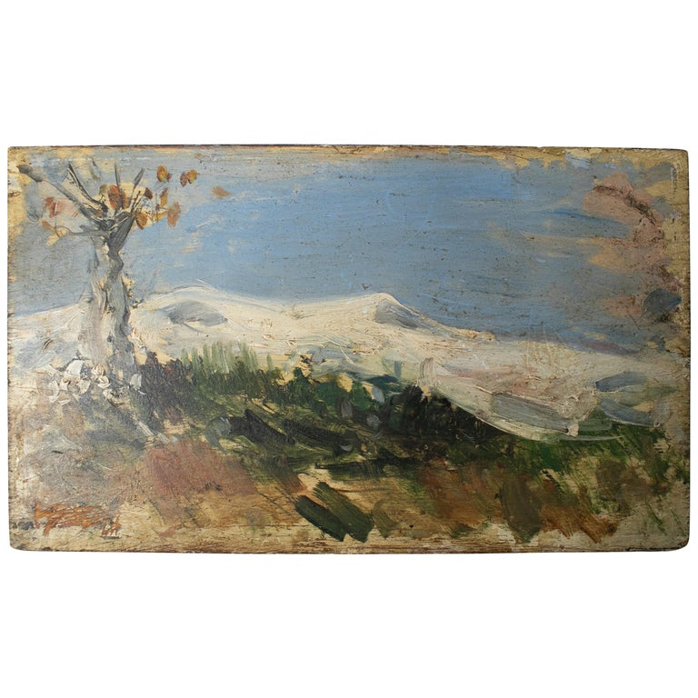 19th Century Oil on Wood Signed Mountain Scenery Painting For Sale