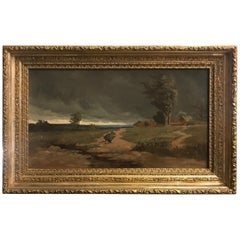"19th Century Oil Painting ""Approaching Storm"" Signed B. Condit Original Frame"