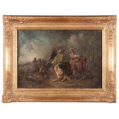 19th Century Oil Painting Battle Scene from Adam Eugen