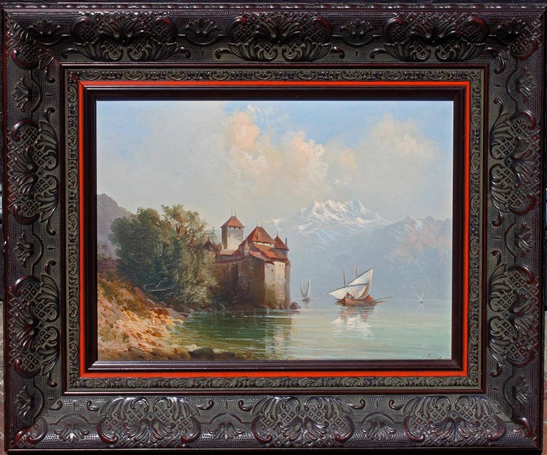 Romantic 19th Century Oil Painting Chateau Chillon Lake Geneva, Switzerland For Sale