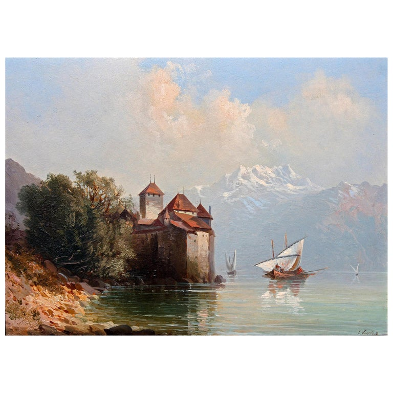 19th Century Oil Painting Chateau Chillon Lake Geneva, Switzerland For Sale