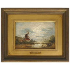 19th Century Oil Painting Landscape by Henri Maes with a Windmill