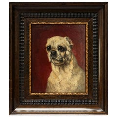 19th Century Oil Painting of a Pug Dog by Henriëtte Ronner Knip on Wooden Panel