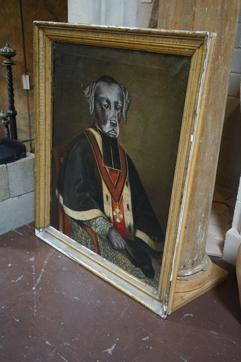 19th Century Oil Painting of a Retreiver In Good Condition For Sale In Dallas, TX