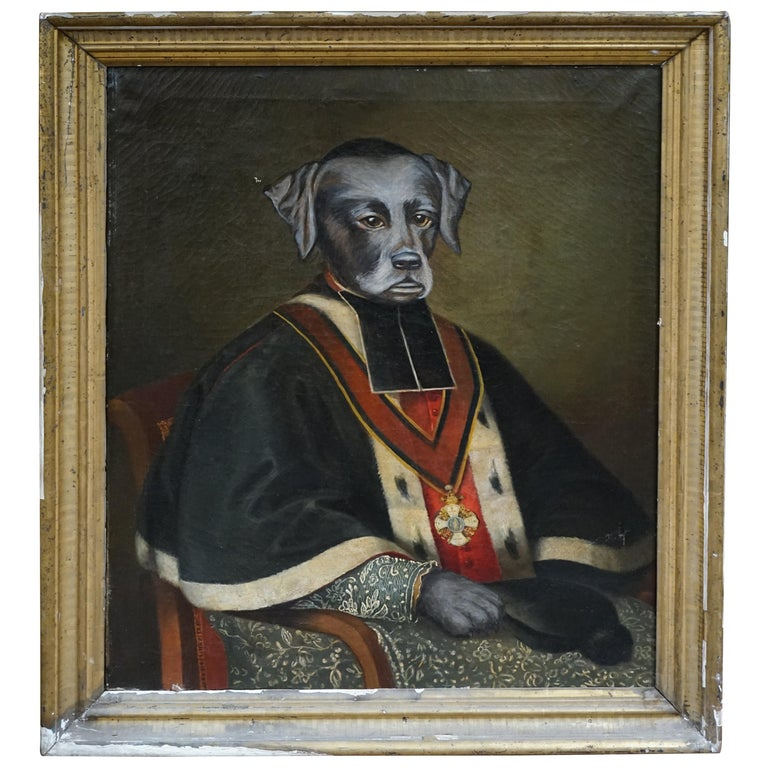 19th Century Oil Painting of a Retreiver For Sale