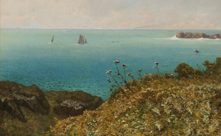 English 19th Century Oil Painting of a View over the Bristol Channel by Eugen Krüger For Sale