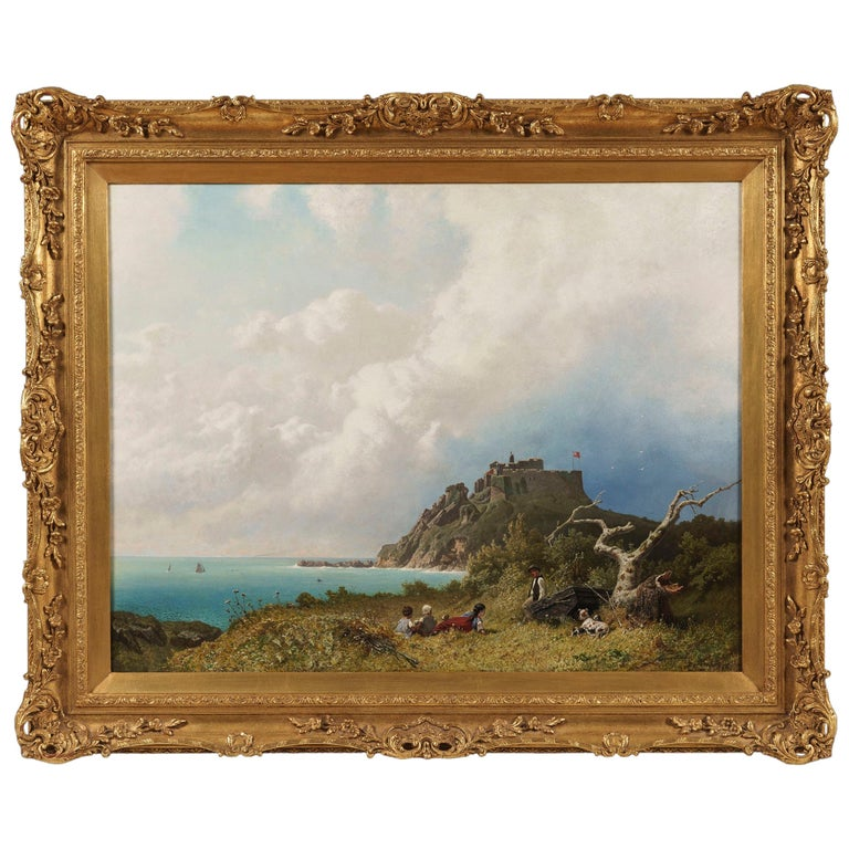 19th Century Oil Painting of a View over the Bristol Channel by Eugen Krüger For Sale