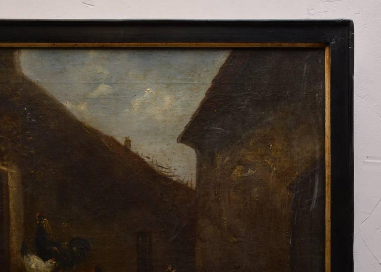 19th Century Oil Painting of Barn Yard Scene In Distressed Condition For Sale In Great Barrington, MA