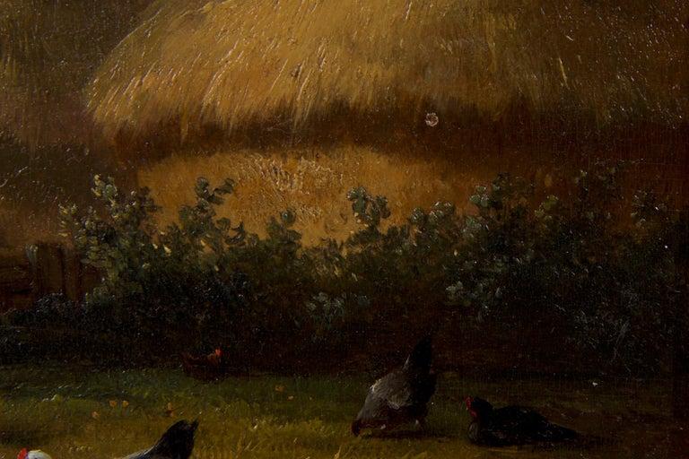 19th Century Oil Painting of Chickens in Yard by Cornelis Van Leemputten For Sale 5