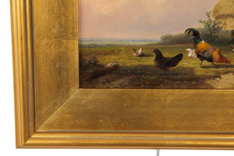 19th Century Oil Painting of Chickens in Yard by Cornelis Van Leemputten For Sale 8