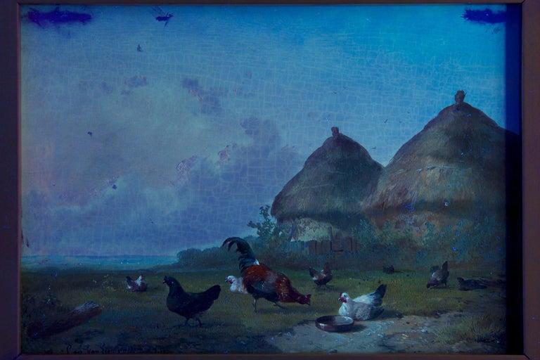 19th Century Oil Painting of Chickens in Yard by Cornelis Van Leemputten For Sale 11
