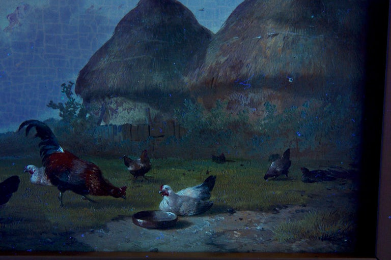 19th Century Oil Painting of Chickens in Yard by Cornelis Van Leemputten For Sale 13