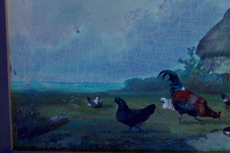 19th Century Oil Painting of Chickens in Yard by Cornelis Van Leemputten For Sale 14