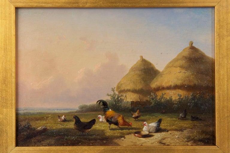 A crisp and vibrant scene, this colorful little work depicts a plethora of fowl pecking around the green grasses of a farm yard for bugs and seeds under clear skies in summer. Two tidy haystacks are positioned behind an old wooden fence. Each bird