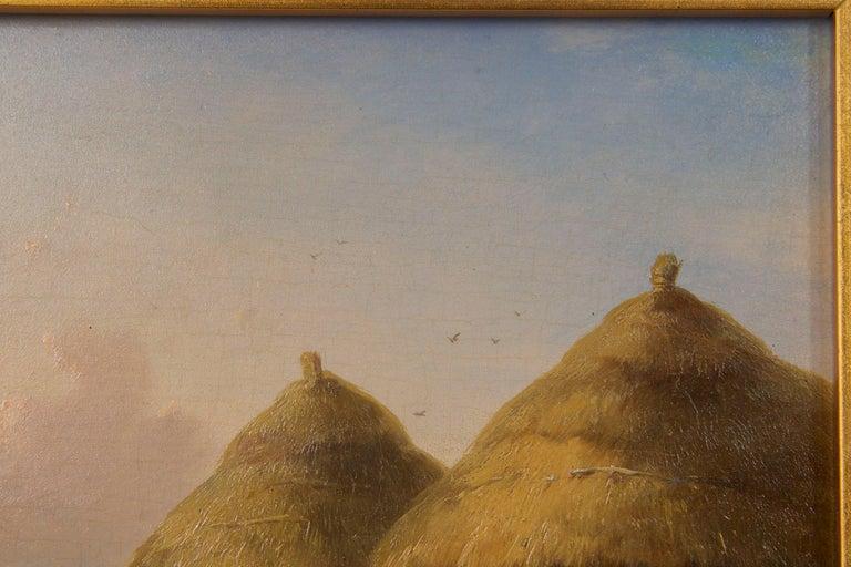 Belgian 19th Century Oil Painting of Chickens in Yard by Cornelis Van Leemputten For Sale