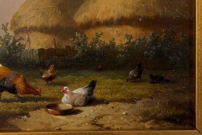 19th Century Oil Painting of Chickens in Yard by Cornelis Van Leemputten In Good Condition For Sale In Shippensburg, PA