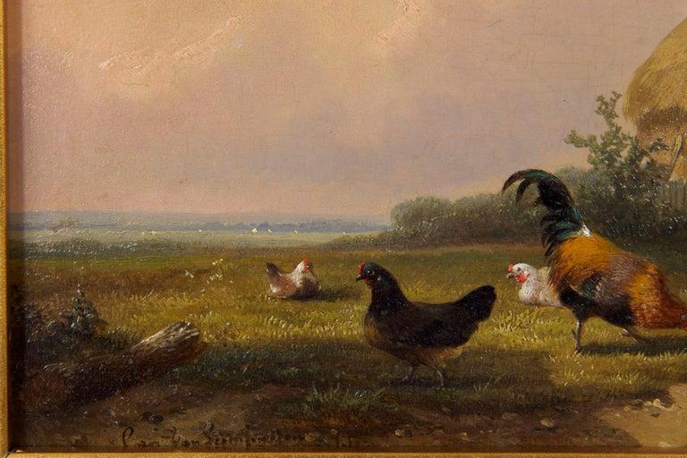 Wood 19th Century Oil Painting of Chickens in Yard by Cornelis Van Leemputten For Sale