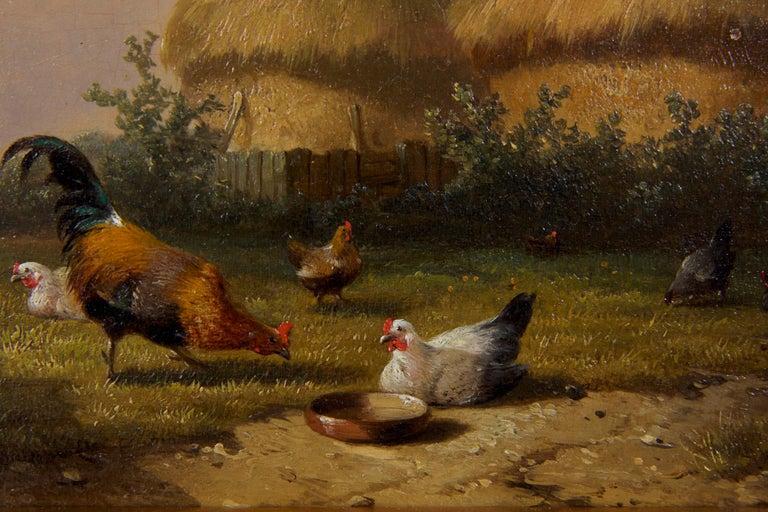 19th Century Oil Painting of Chickens in Yard by Cornelis Van Leemputten For Sale 2
