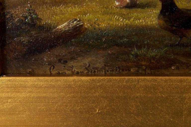 19th Century Oil Painting of Chickens in Yard by Cornelis Van Leemputten For Sale 3
