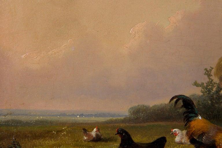 19th Century Oil Painting of Chickens in Yard by Cornelis Van Leemputten For Sale 4