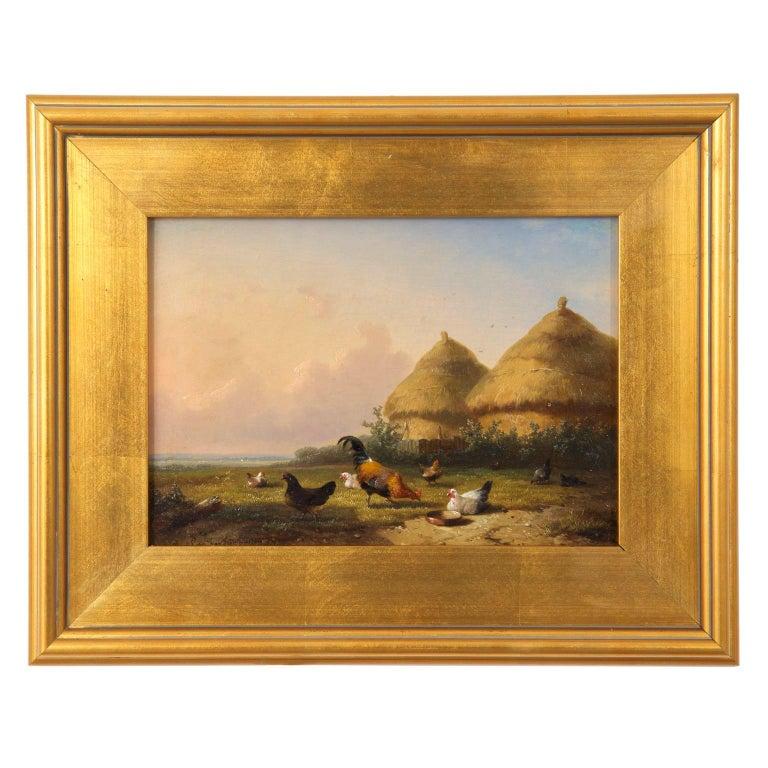 19th Century Oil Painting of Chickens in Yard by Cornelis Van Leemputten For Sale