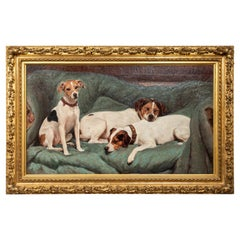19th Century Oil Painting of Jack Russell Terriers