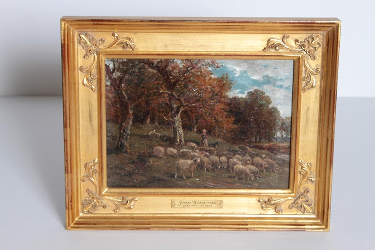 19th Century Oil Painting of Sheep Signed James Desvarreux For Sale 4