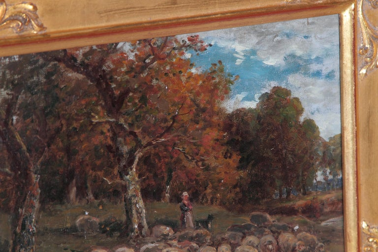 19th Century Oil Painting of Sheep Signed James Desvarreux For Sale 5