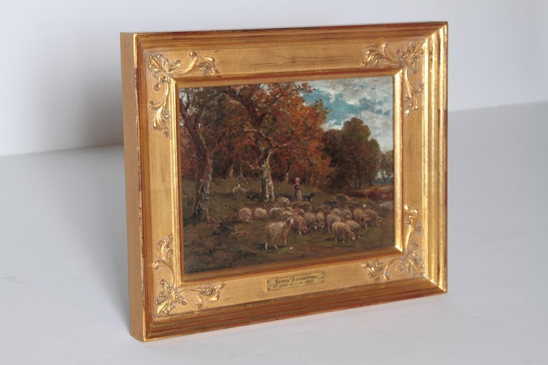 Romantic 19th Century Oil Painting of Sheep Signed James Desvarreux For Sale