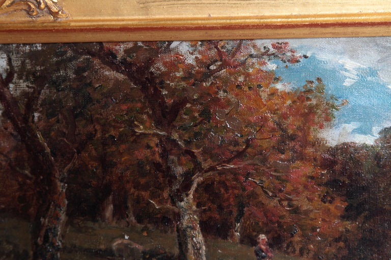 Hand-Painted 19th Century Oil Painting of Sheep Signed James Desvarreux For Sale