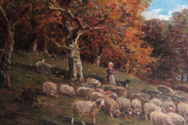 19th Century Oil Painting of Sheep Signed James Desvarreux In Good Condition For Sale In Dallas, TX