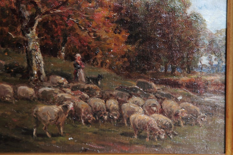 Canvas 19th Century Oil Painting of Sheep Signed James Desvarreux For Sale