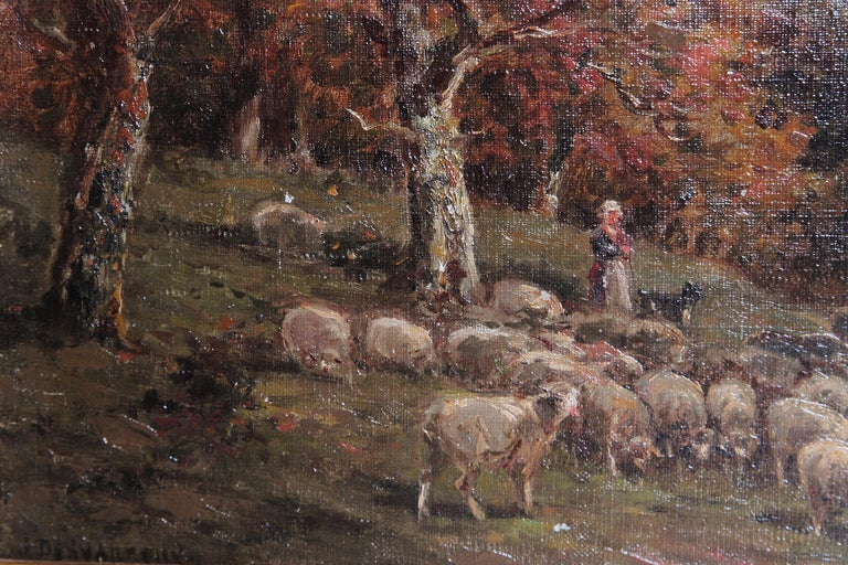 19th Century Oil Painting of Sheep Signed James Desvarreux For Sale 1