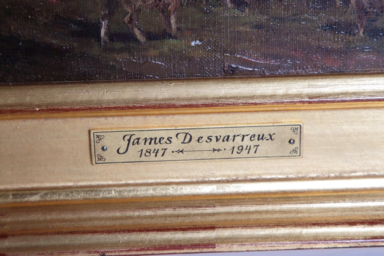 19th Century Oil Painting of Sheep Signed James Desvarreux For Sale 2