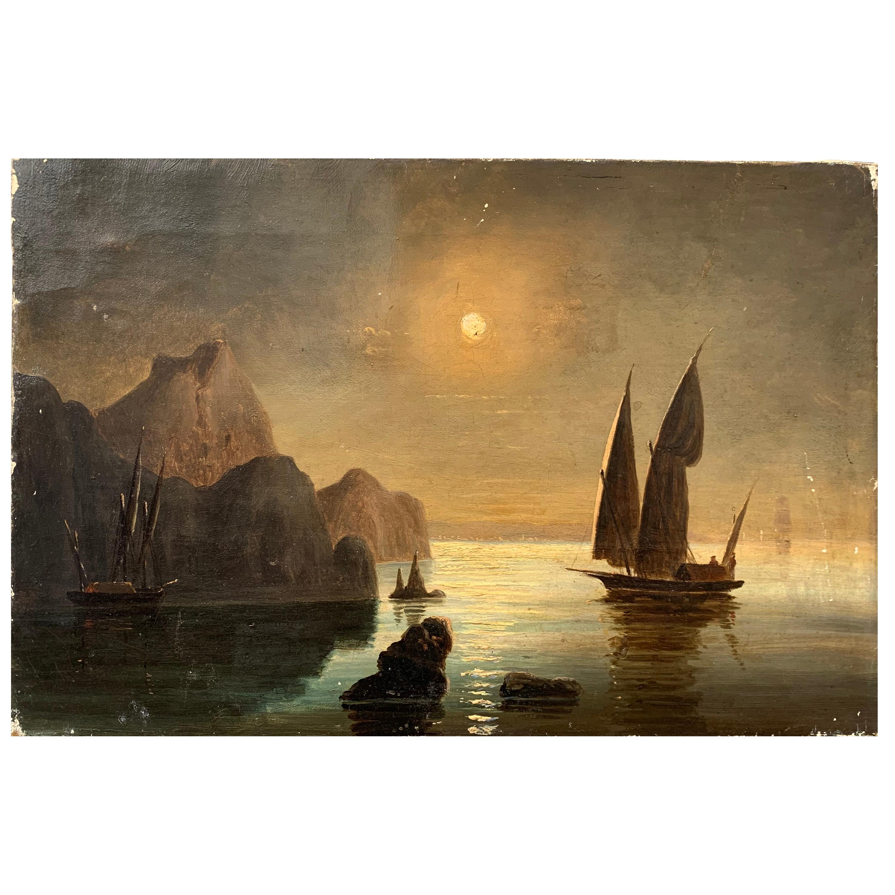 19th Century Oil Painting of Swedish Coastline with Sail Boat in Moonlight