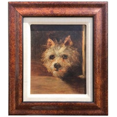 19th Century Oil Painting of Terrier, Probably English