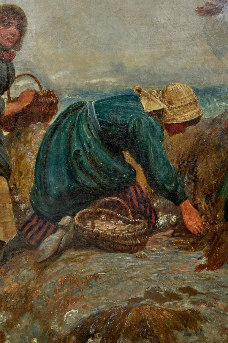 English 19th Century Oil Painting of Yorkshire Flither Pickers by Robert Farren For Sale