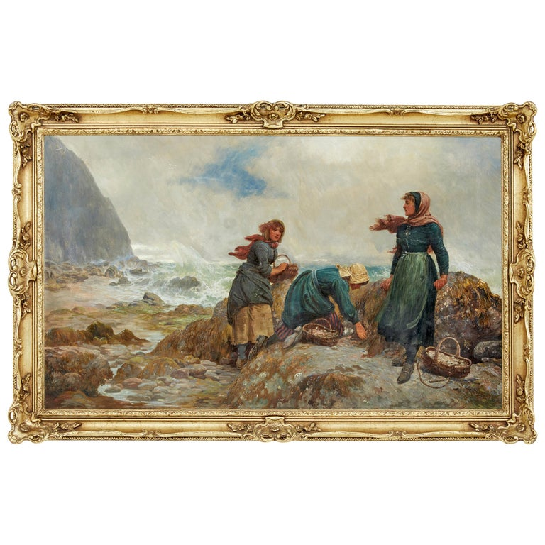 19th Century Oil Painting of Yorkshire Flither Pickers by Robert Farren For Sale